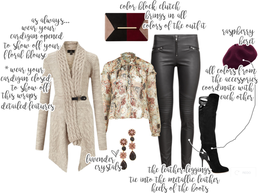 Raspberry beret paired with a stylish outfit for Fall