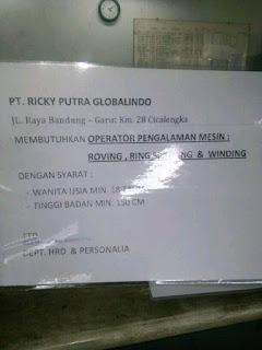 Karir Lowongan Kerja PT Ricky Putra Globalindo Tbk Terbaru 2020