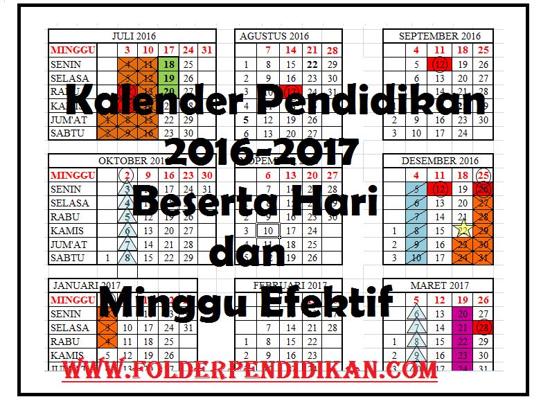 Kalender Pendidikan 2016-2017 beserta Hari dan Minggu Efektif