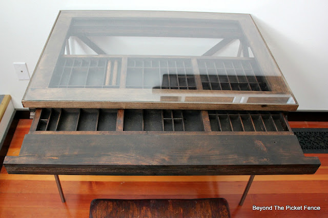 desk, printer's tray, drawer, rustic, industrial, http://goo.gl/mtjRjv