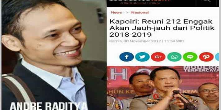 Kapolri Sebut Aksi 212 Berbau Politik, Ini Jawaban Cerdas Mualaf Andre Raditya