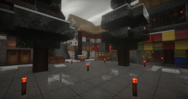ciudad iluminada con redstone minecraft