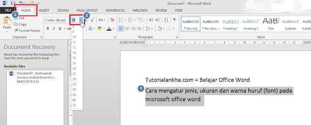 Mengatur Ukuran huruf pada microsoft office word