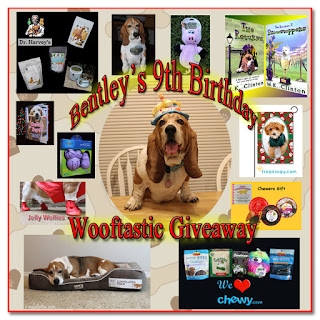 Bentley's Wooftastic Giveaway badge featuring him and the prizes