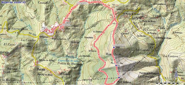 Mapa de la ruta Torazo, pico Incos
