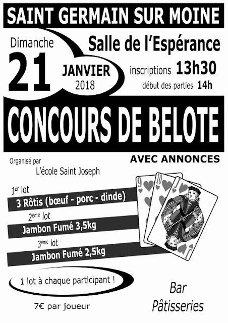 Affiche Belote St Germain sur Moine 2018