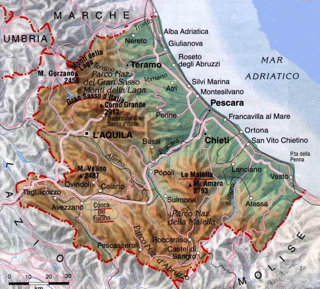 Cartina Della Regione Abruzzo.Campi Di Volo In Abruzzo