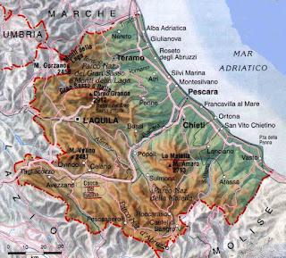 Cartina fisica della regione Abruzzo