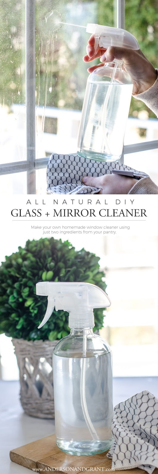 Safe and natural homemade cleaner for your windows.  Get the recipe at www.andersonandgrant.com #DIYcleaner #homemadecleaner #andersonandgrant