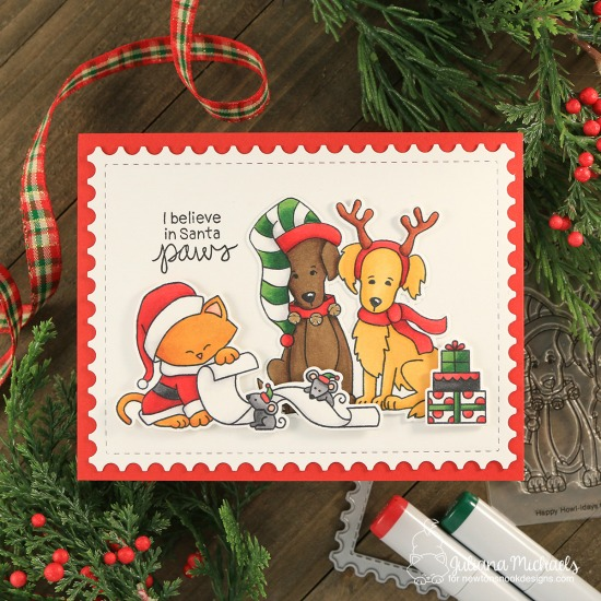 Christmas Cat and Dog Card by Juliana Michaels   Happy Howl-iday and Santa Paws Newton Stamp Sets by Newton's Nook Designs #newtonsnook #handmade