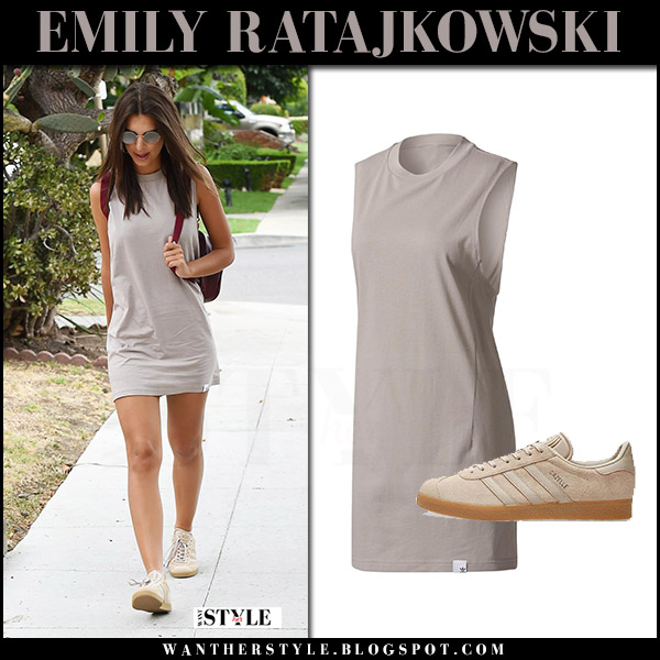 Emily Ratajkowski in grey mini tank dress and sneakers adidas originals what she wore july 2 42017