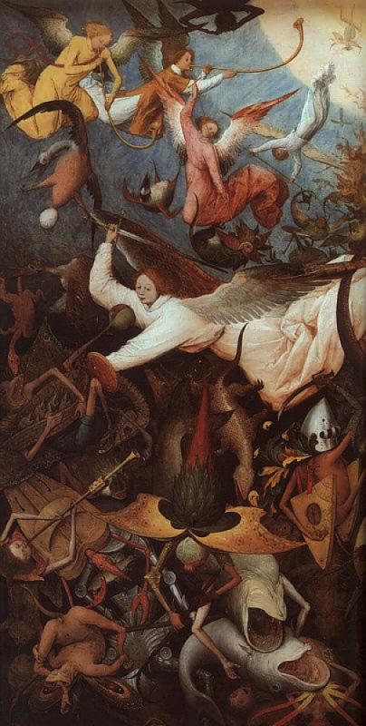 Queda dos anjos rebeldes, detalhe. Pieter Bruegel o Velho (1525-1569). Royal Museums of Fine Arts, Bruxelas