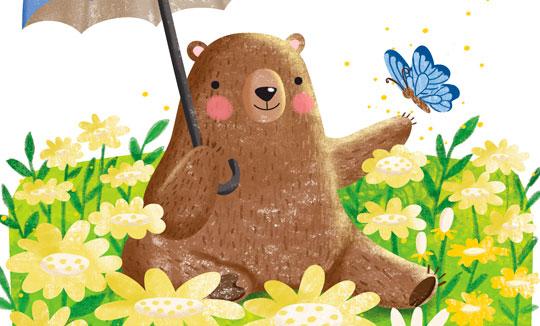 Ilustración, Oso sentado en un jardín de Gina Maldonado