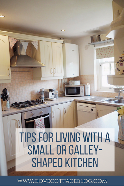 Tips for living with a small or galley shaped kitchen featuring advice on organisation, maximising space, and storage