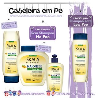 Linha Maionese Capilar Vegana - Skala (Shampoo Low Poo, Máscara, Condicionador e Creme para pentear liberados para No Poo)