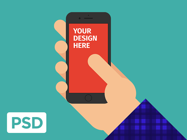 Smartphone & Tablet Mockup PSD Terbaru Gratis - FlatiPhone 6s in Hand Mockup