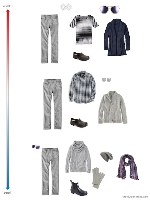 3 ways to wear grey corduroy pants for changing weather