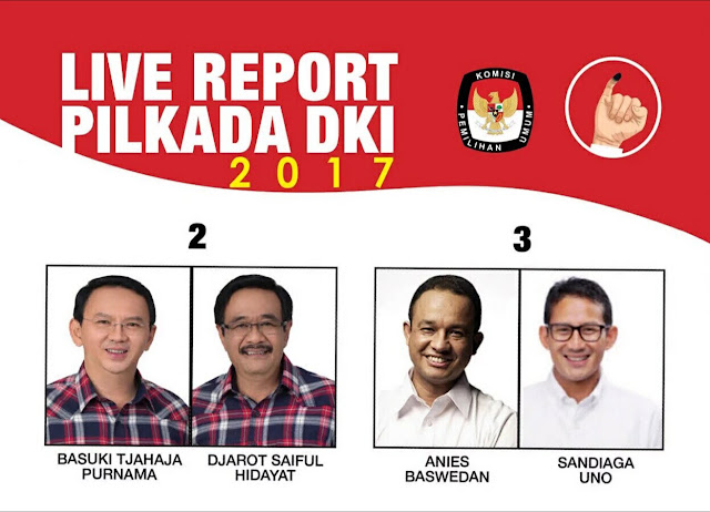 Pasangan calon gubernur dan wakil gubernur pilkada dki putaran 2 : Basuki Tjahaja Purnama dan Djarot Saiful Hidayat dan Anies Baswedan dan Sandiaga Uno