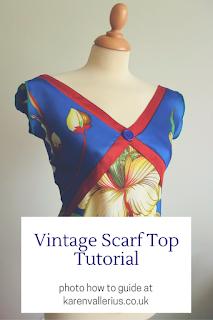 vintage scarf top tutorial by karen vallerius