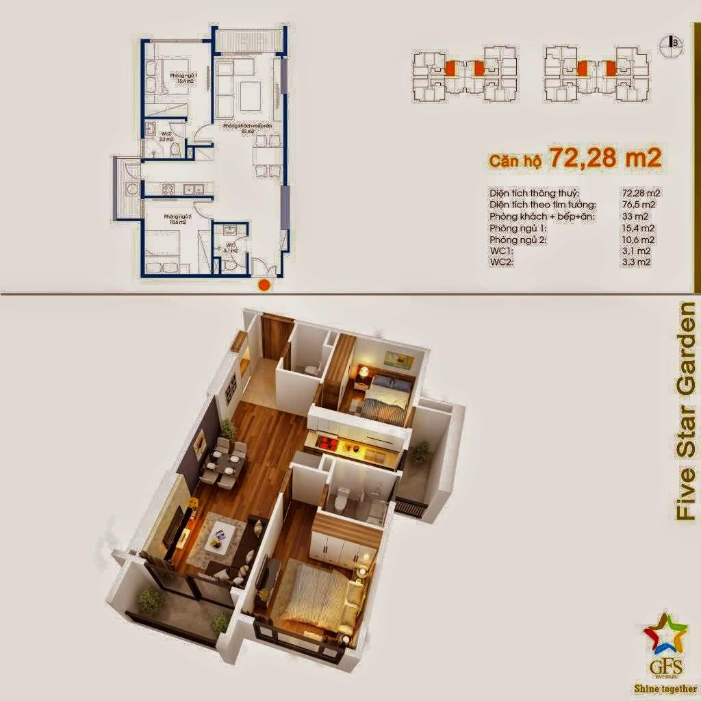 Căn 72,28 m2