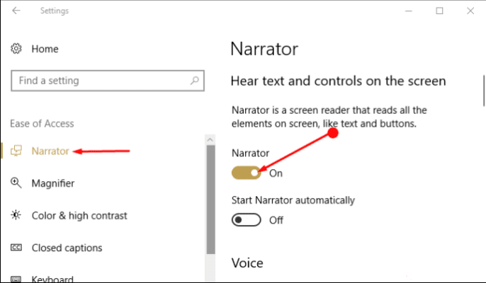 Way to Select Audio Channel for Narrator Speech Output in Windows 10