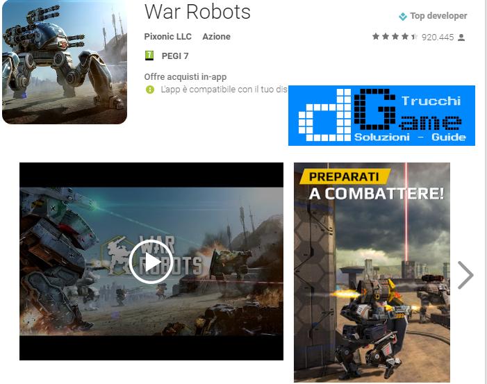Trucchi War Robots Mod Apk Android v2.2.0