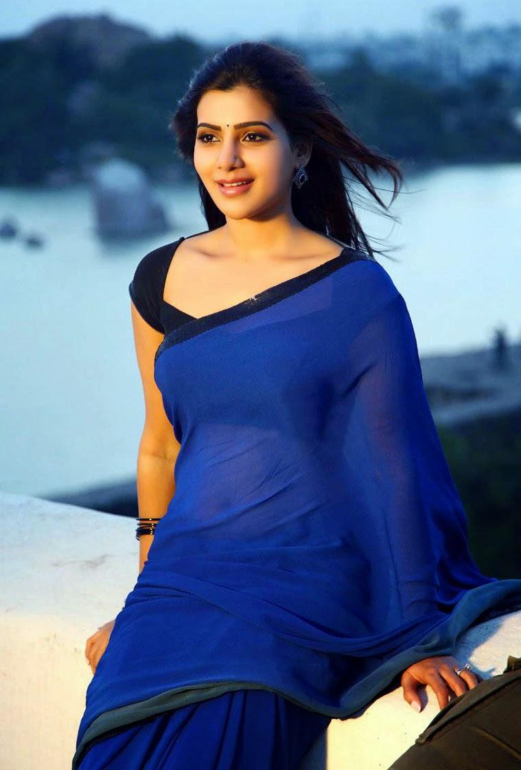 Samantha Hot Navel Show Wallpapers In Blue Saree