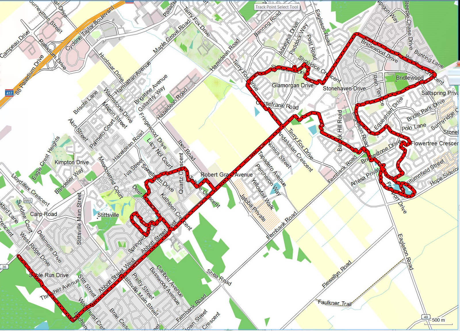 Richard's GPS Trail Maps: Bridlewood to Ssville Paths ... on laura secord map, fred hutchinson map, samuel de champlain map, mother teresa map,