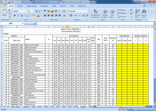 Contoh Daftar Nilai dan Leger Format Microsoft Excel