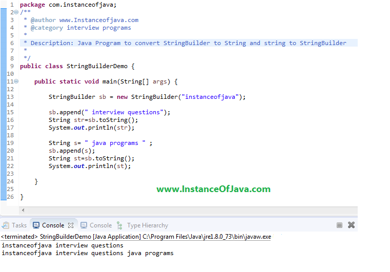 java program to convert string to string builder