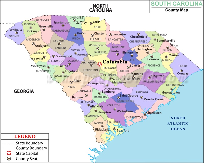 Map Of South Carolina State Map Of United States - North carolina map of cities and towns