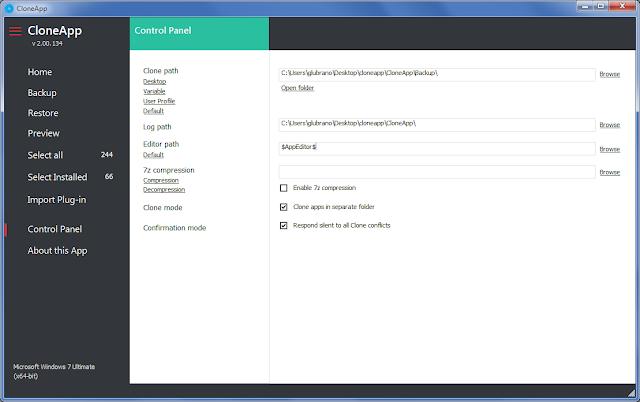 CloneApp, Control Panel