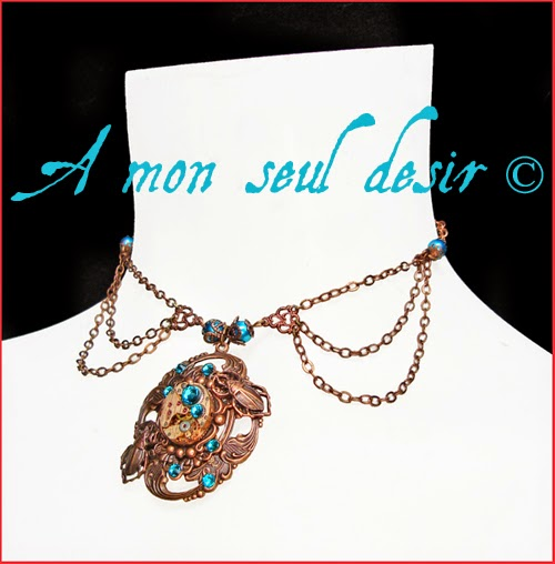 Collier Steampunk mouvement de montre mécanisme cuivre bleu turquoise blue copper clockwork watchwork necklace Tempus Edax