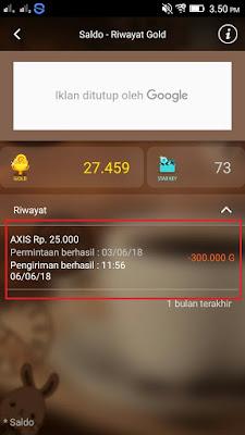 Bukti Penukaran Pulsa Gratis dari Aplikasi CashPop