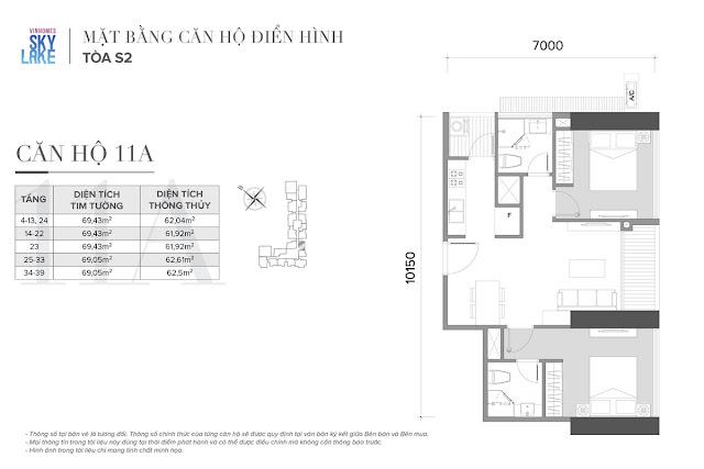 Mặt bằng căn hộ 11A tòa S2 Vinhomes Skylake