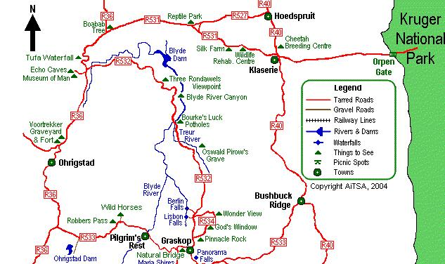 Panorama Route South Africa Map.World Cup Panorama Route Peenak Sojourn