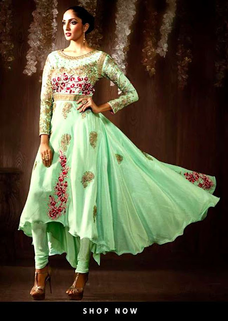 Latest Asymmetrical Anarkali or Tail Cut Anarkali Suit 2017