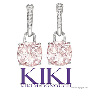 Kate Middleton accessorised Kiki McDonough morganite and diamond cushion drop earrings