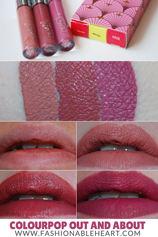 bbloggers, bbloggersca, canadian beauty bloggers, colourpop, colourpop cosmetics, out and about, lip set, ultra matte lip, ultra satin lip, viper, baracuda, time square, rose, nude beige, bundle, swatches