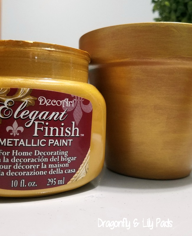 DecoArt Elegant Finish Metallic Paint Gold use as many thin coats to get the effect you like. in this project 3 coats of paint was used.