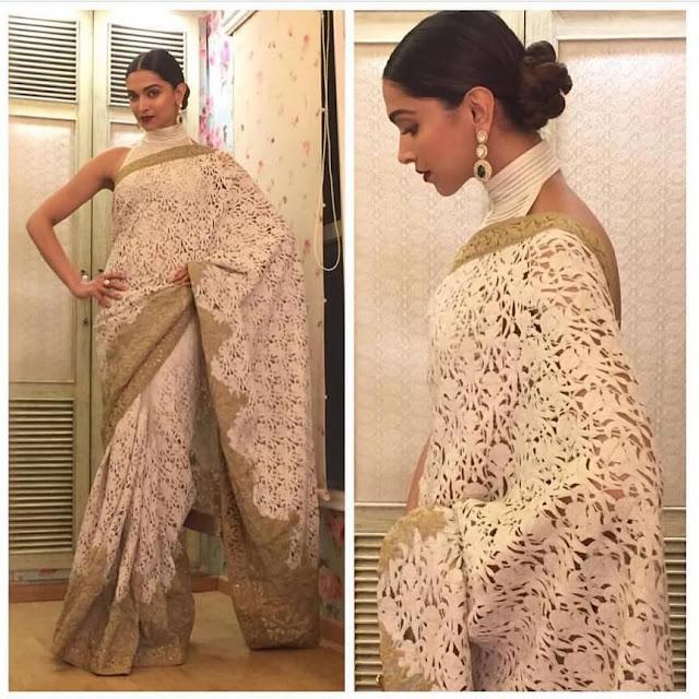 deepika padukone hairstyles with saree