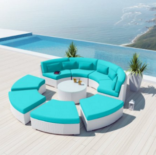 Uduka Modavi 9pcs Outdoor Round Sectional Patio Furniture White Wicker Sofa Set Turquoise All Weather Couch