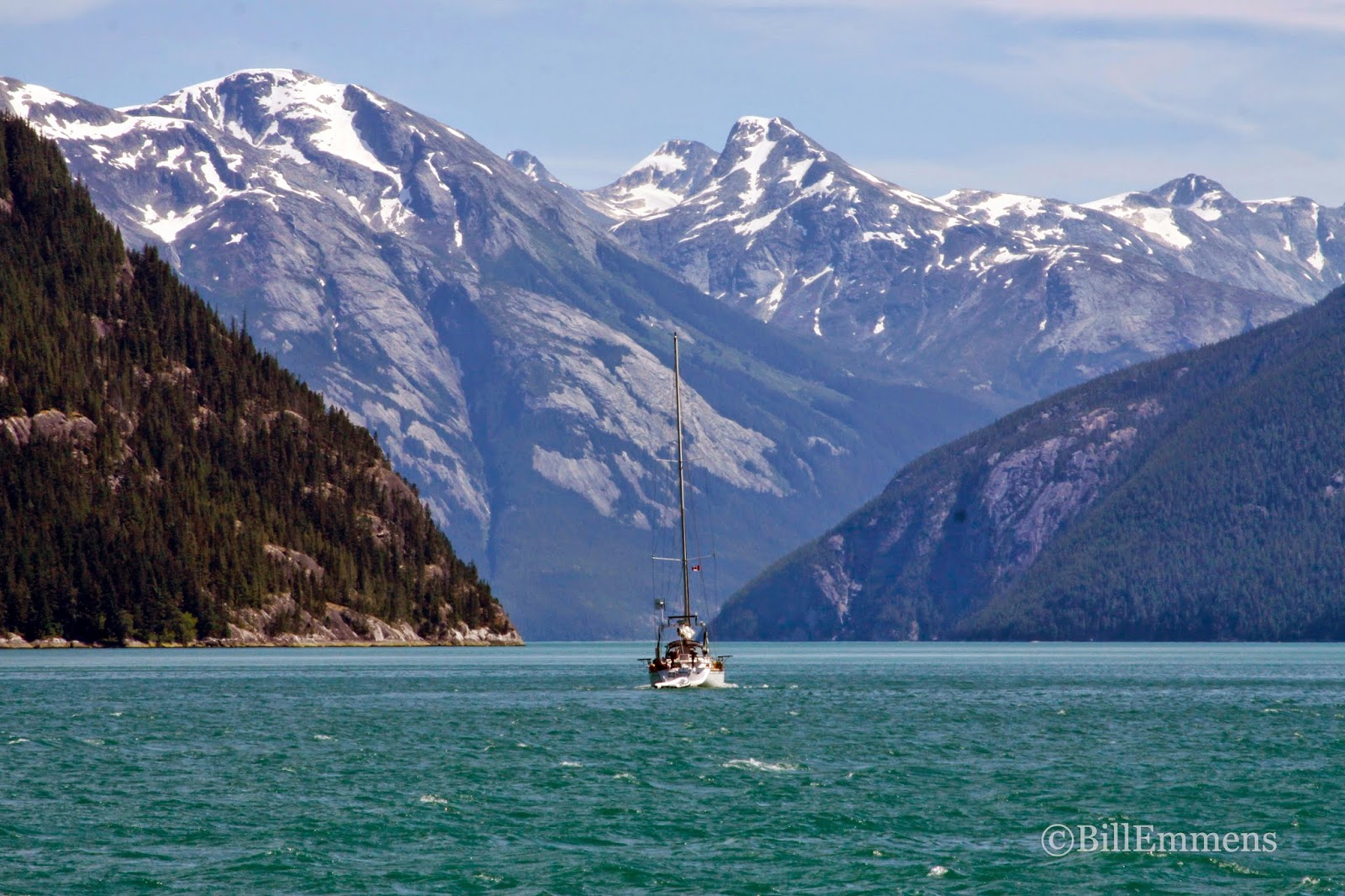 Cambria motoring down Gardner Canal in northern British Columbia.