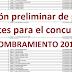 Relación preliminar de plazas vacantes para el concurso de nombramiento 2018