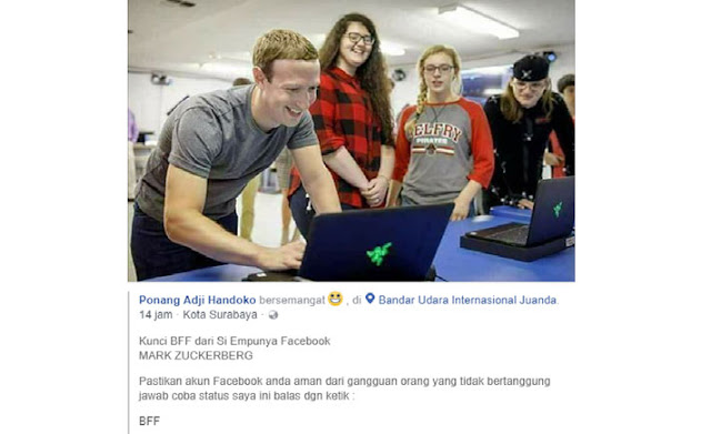 """Benarkah Mengetik """"BFF"""" di Facebook Membuktikan Aman Tidaknya Akun Kita?"""