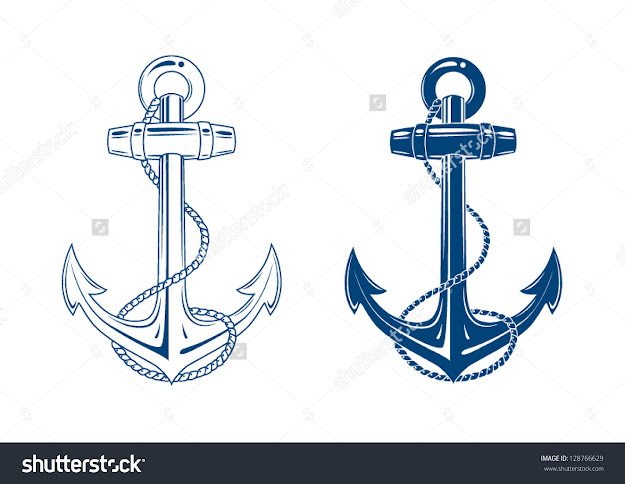 Nautical Anchor Vector Isolated White Blue
