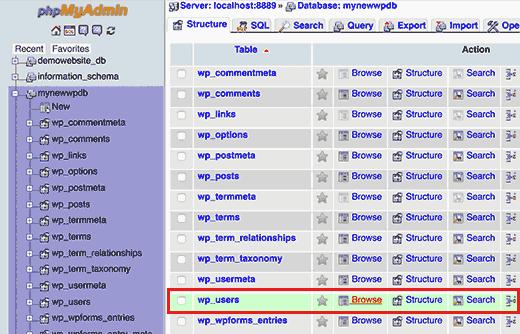 How to Reset WordPress Admin Password on Cpanel or Local Host. Step2 2Bwordpress 2Busers 2Btable 2B  2Bfor 2Breset 2Byour 2Bwordpress 2Badmin 2Bpassword