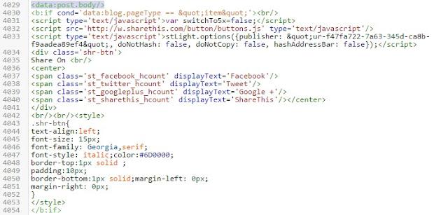 Cara Mudah Memasang tombol Share dibawah Postingan di Blogger