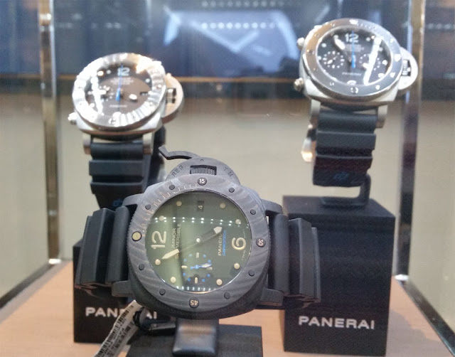 Panerai Watches, in front you see the grey Luminor Subversible 1950 Carbotech