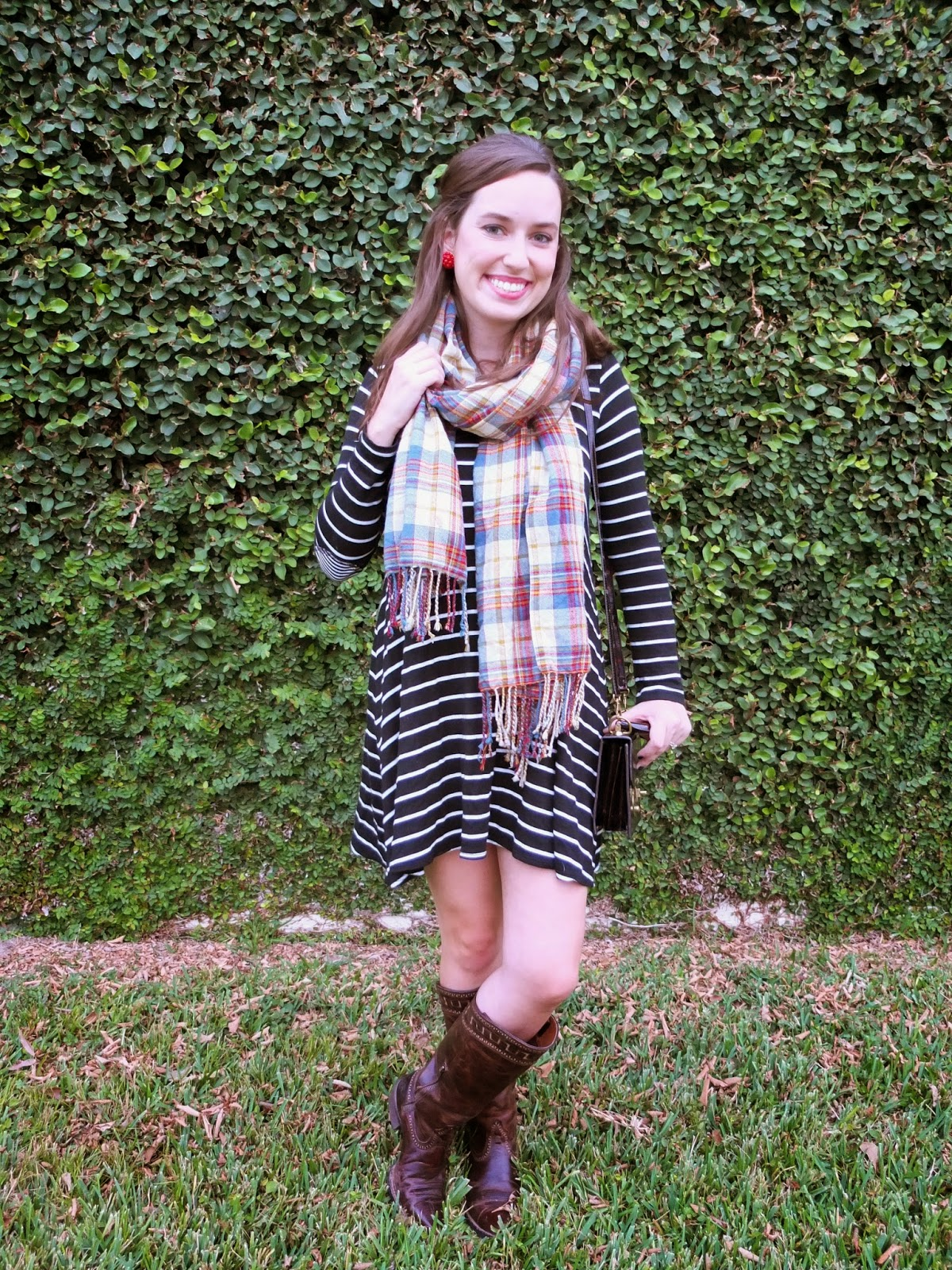 Ariat Sahara Boots, Anthropologie Striped Dress, Striped Dress and Plaid Scarf, Anthropologie black and white striped dress blog, Lisi Lerch Button Earrings, Ariat Sahara, Sahara Boots